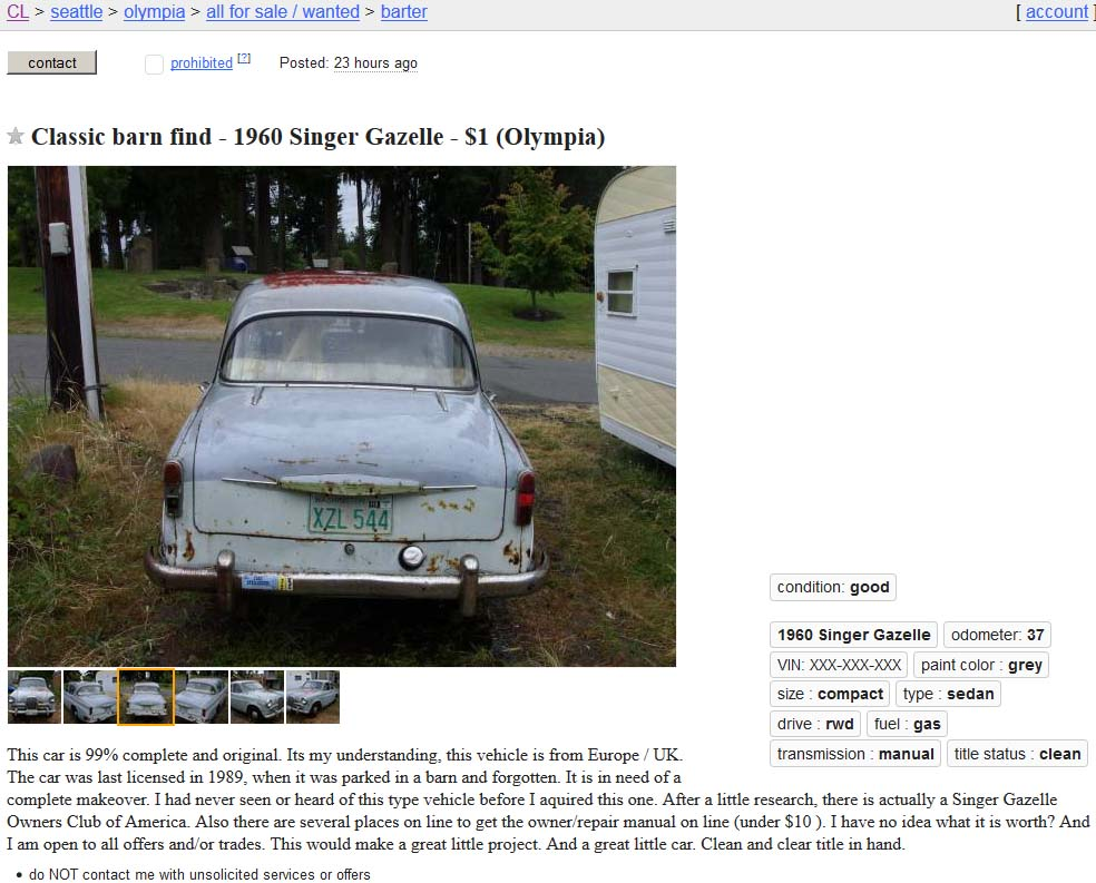 It Was Last Registered In 1989 At Which Time The Seller Says Parked A Barn And Forgotten Now Old Days This Would Have