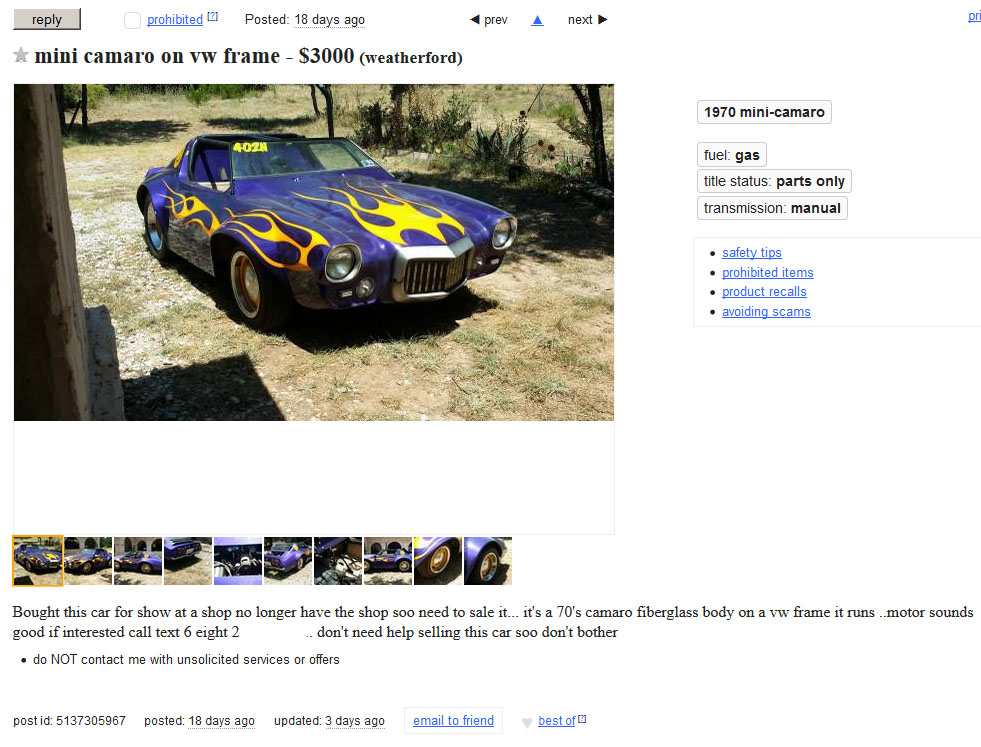 Funtastik Mini Camaros Are Very Hard To Find Now But We Were Able Score This Gorgeous Purple With Yellow Flames Camaro In Texas Decent Condition