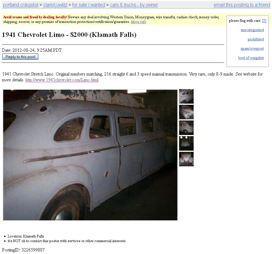 Project Car Hell, Vintage Detroit Limo Edition: 1941 Chevrolet or
