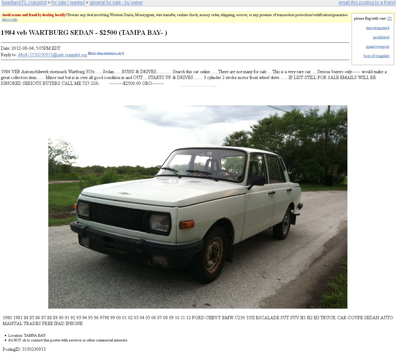 Craigslist Tampa Bay Area Cars For Sale By Owner Craigslist Pasco